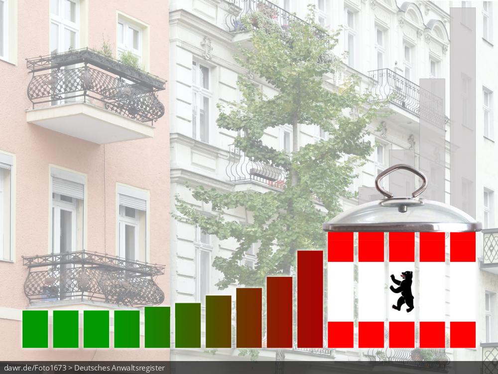 Dieses Foto zeigt mehrere Altbau-Mehrfamilienhäuser, vor denen ein Säulendiagramm zu sehen ist, welches symbolisch die Funktionsweise eines Mietendeckels zeigen soll. Die Säulen zeigen dabei teilweise die Berliner Fahne. Diese symbolische Darstellung eignet sich gut für das Thema Mietendeckel, womit die gesetzliche Begrenzung der Wohnungsmieten in Ballungsräumen gemeint ist. Speziell bezieht sich diese Bild auf den geplanten Mietendeckel in Berlin, welcher vorsieht die Nettokaltmiete (inklusive aller Zuschläge, z.B. für Möbelierung) für fünf Jahre praktisch konstant zu halten.